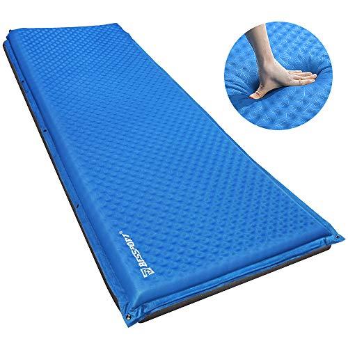 Bessport Selbstaufblasende Isomatte, mit Tragetasche und 5cm Dicke Camping Isomatte Schlafmatte, ideal für Hängematte und Zelt Schlafsack Outdoor Wandern (190 * 66 * 5.1, Blue)
