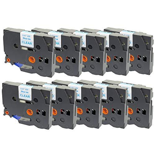 Prestige Cartridge Tape TZ133 voor Brother P-Touch 1090/1230PC/1830VP/2430PC, 10 tapecassettes, 12 mm x 8 m, blauw op kleurloos
