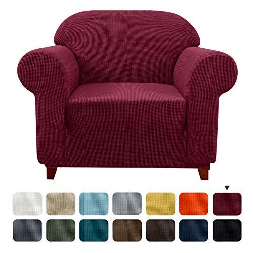 subrtex Spandex Sofabezug Stretch Couchbezug Sesselbezug Elastischer Antirutsch Sofahusse (1 Sitzer, Weinrot)
