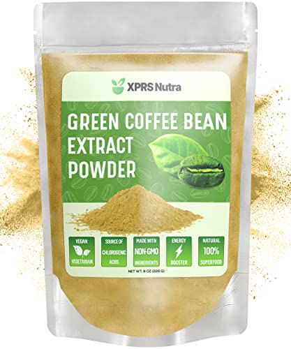 XPRS Nutra Green Coffee Bean Extract Powder - Chlorogenic Acid Containing Green Coffee Beans for Weight Management and Energy Boosting Support - Vegan Friendly Green Coffee Bean Powder (8 oz)