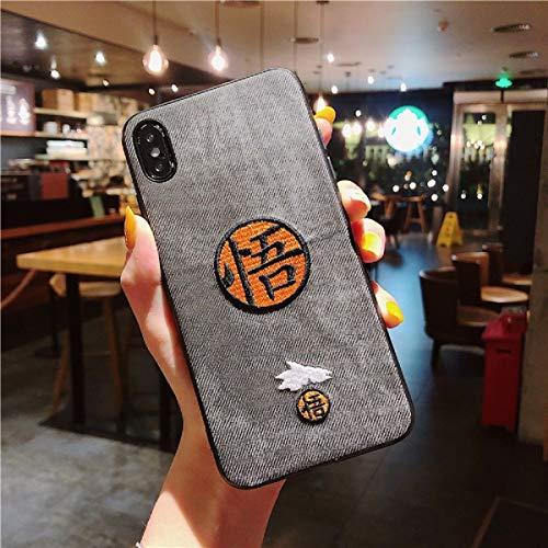 Dragon Ball Super Z moda caso para iPhone X XR XS MAX 11 11Pro 11 Pro Max 8 7 6S 6 Plus lujo 3D bordado paño suave cubierta coque (1, iPhone X XS)