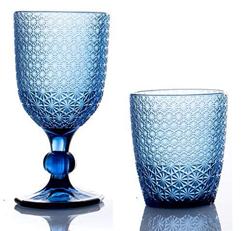 kedea Bicchieri Acqua Colorati in Vetro, Calici Vino Colorati in Vetro, Lavabili in lavastoviglie, Bicchieri e Calici in Pasta Colore Lavabili in Lavastoviglie, Pave' Blu Zaffiro