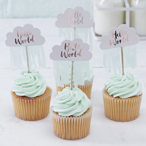 Ginger Ray Rose Gold Cloud Hello World Baby Shower Quaste Cupcake Topper Topper 10 Stück