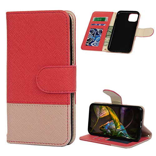 Tom's Village Luxury Splicing Wallet Case for iPhone 11 Pro Premium PU Leather Magnetic Flip Cover Shock Resistant Flexible Soft TPU Rubber Bumper Slim Protective Cover Card Slots Kickstand Red