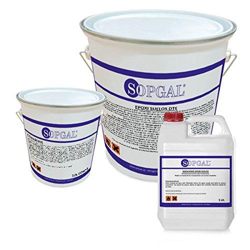 Kit Pintura de Epoxi para suelos industriales (5 kgs + 1 kg) + Disolvente (5 litros)