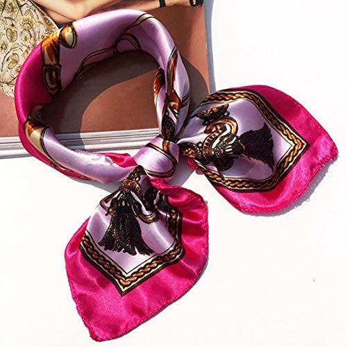 SJYM Mujeres Bandanas Pañuelo de Seda de poliéster multifunción Impresiones Satén Chales Cuadrados pequeños y Bufandas Foulard Pañuelo para el Cuello, C