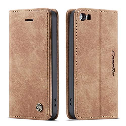Bigcousin Custodia per iPhone 5/5S/SE 2016,Flip Cover in PU Pelle Premium Portafoglio Custodia,Marrone