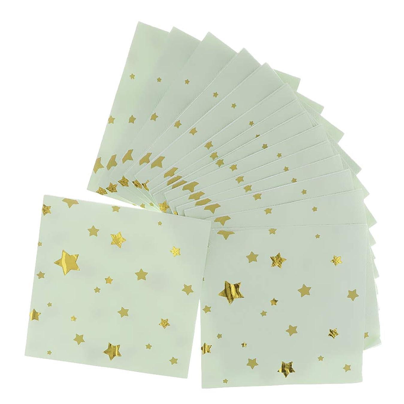 どこでもの量変色するamleso 約20枚 紙ナプキン 金の星 使い捨てナプキン カクテルの装飾 5色選べ - グリーン