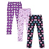 HDE Girl's Leggings 3 Pack with Print Designs Full Ankle Length Kids Pants 3-11Y (Cute Animals, X-Small 4/5)