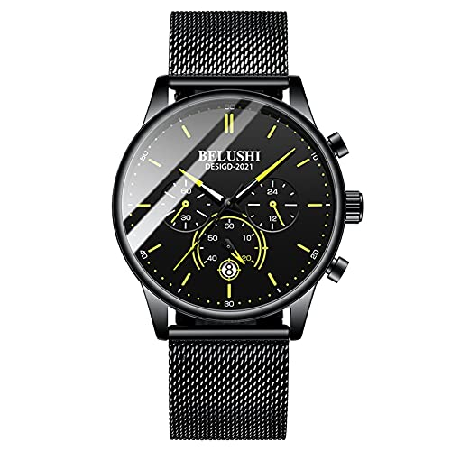 Rcherish Reloj de Cuarzo Moda de Negocios de Hombre de Tres Ojos Temporizador de Seis Mano Calendario Luminoso Reloj de Moda,B
