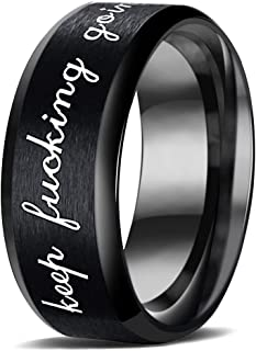 MYLYAHY Personality Inspirational Message Rings for Teen Girls,Womens Stainless Steel Motivational Encouragement Ring Jewe...