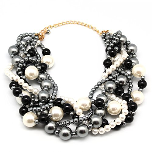 MeliMe Women's Pearl Necklace Twisty Chunky Bib Pearl Chokers for Wedding Party