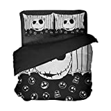 Jack Skull Duvet Cover Set It's The Most Wonderful Time Of The Year Bedding Set Skeleton Bed Sheet Comforter Cover To Son Back School Bedspread,3 Piece Bedding Set with 2 Pillow Covers,Full Size
