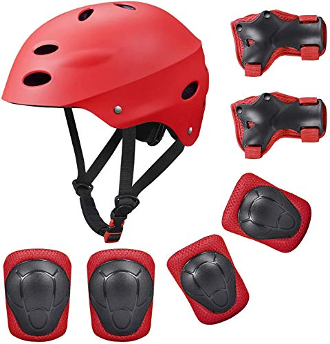 Bdclr Kids Protective Gear Set, 7 in 1 Verstelbare Fietshelmen voor Rolschaatsen Skateboard Leeftijd 3-8 Jaar Oude Jongens Meisjes (Knee Pads+Elleboog Pads+Pols Pads+Helm)