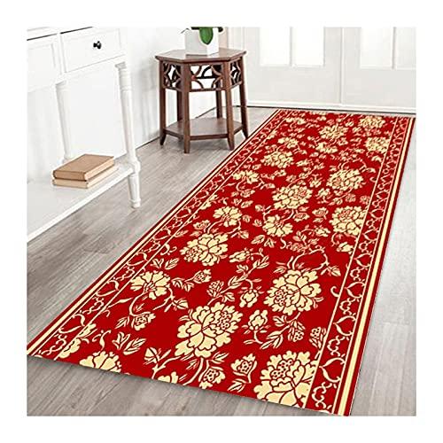 KKCF-Alfombras de pasillo, Alfombra Tradicional Vintage Roja con Respaldo Goma Antideslizante, Microfibra Lavable para Paso Cocina, Tamaños Personalizados (Color : A, Size : 0.6x3m)