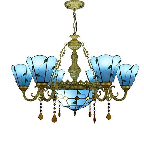 32'Tiffany Style Blue Green Hoebres Lámpara de vidrio Manchas 6 Araña Araña con 12 pulgadas Lámpara Colgante de Techo Invertido para Lobby Sala de estar Restaurante Bar-