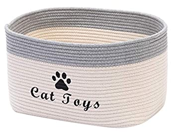 Geyecete Weave Rope Dog Box for Toys with Handle for Baby Laundry Basket Cat/Dog Toy Storage Blanket Storage Natural Woven Basket Pet Toy Storage Boxes-Cat-White/Grey