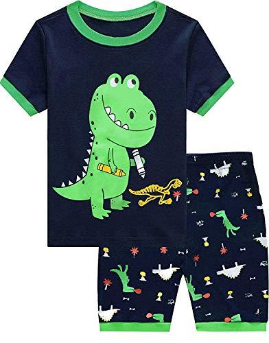 EULLA Jungen Zweiteiliger Schlafanzug Kurzarm Dinosaurier Bagger Traktor Nachtwäsche Sleepwear 92 98 104 110 116 122 4# Dinosaurier DE 104