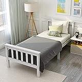 Cama de madera Cama individual hecha de armazón de cama con somier Cama de madera con cabecero - 90 x 200 cm de madera maciza Cama para niños, cama para jóvenes, pino macizo, blanco (sin colchón)
