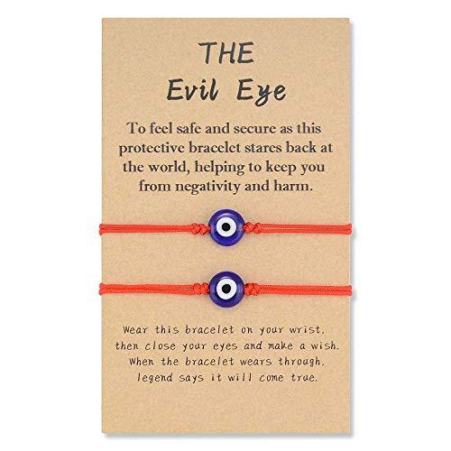 SUNSH 2 pulseras para el mal de ojo para mujer, color rojo, de la suerte, cuerda ajustable, para niña, joyería, regalo de amistad, regalo de cumpleaños