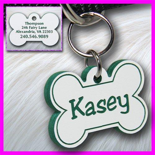 Personalized Custom Engraved Plastic Pet ID Tag 2-sided Bone White/Green