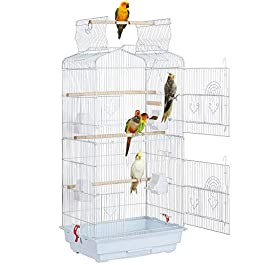 Yaheetech Large Open Top Metal Bird Cage Budgie Parrot Canary Cockatiel 46 x 35.5 x 104.5cm White