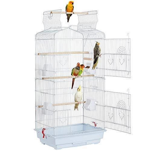 Yaheetech Gabbia Voliera per Uccelli Pappagalli Inseparabili Parrocchetti in Metallo e Posatoi in Legno 46 x 36 x 92 cm Bianca