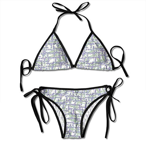 Jiger Adjustable Bikini Set Halter Ladies Swimming Costume, Grid Design with Springtime...