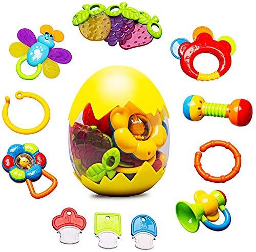 WISHTIME Rassel Beißring Set Baby Spielzeug - Baby Sensorische Spielzeuge ab 0 3 6 9 Monate Shaker Greifen Rassel Baby Kleinkind Spielzeug Frühe Lernspielzeug für Jungen Mädchen Baby Geschenke