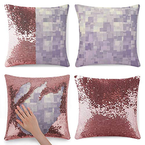 Sequin Pillow Cover, Lavender Cubes Abstract, Zipper Pillowslip Pillowcase, Decorations for Sofas, Armchairs, Beds, Floors, Cars