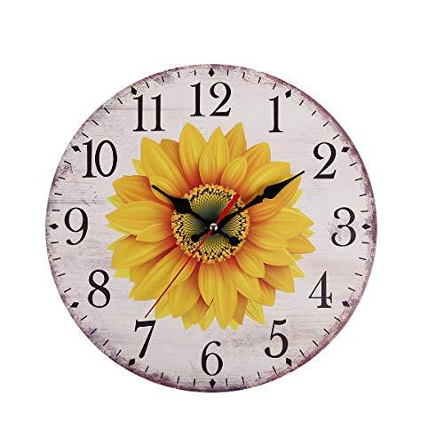 Reloj de pared de madera MINGKK para decoración del hogar, diseño de girasol, 30 cm