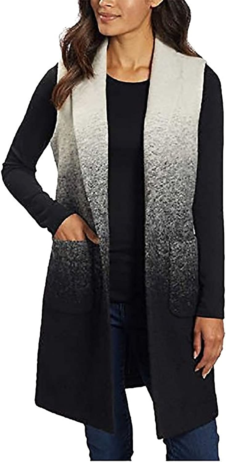 Andrew Marc Ladies' Long Vest With Pockets, Medium White Black