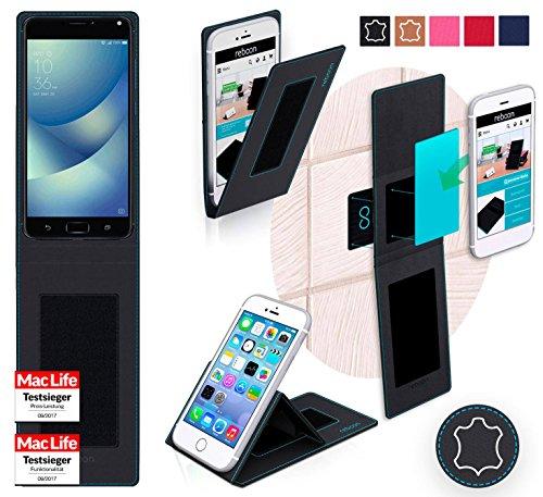 Hülle für Asus Zenfone 4 Max Pro Tasche Cover Hülle Bumper | Schwarz Leder | Testsieger