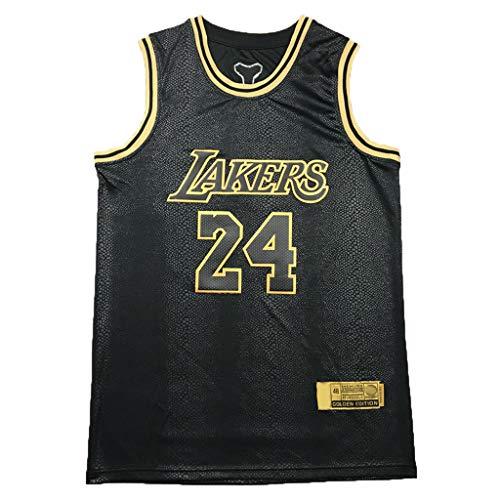 XYFF Maillot de Baloncesto para Hombre-Maillot Bryant-Los Angeles Lakers # 24, Mamba Black Gold Edition, Maillot de Baloncesto con Malla Bordado Swingman, 100% poliéster-C-S