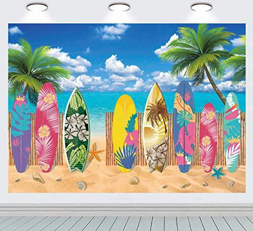 INRUI Tabla de surf de verano para fiestas temáticas de playa, fondo de fotografía surfs Up Seaside Tropical Hawaiian Island Sea Sky Sunshine Luau temático telón de fondo