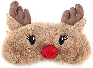 NOTE かわいいアニマルアイカバースリーピングマスクアイパッチ包帯目隠しクリスマス鹿冬漫画昼寝アイシェードぬいぐるみスリーピングマスク