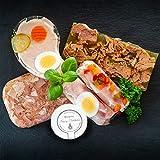 WURSTBARON® Aspik Wurst Probierpaket 1000g mit Sülzkotelett, Sülze, Zwiebelfleisch, Schinkenröllchen Fleischsalat, Grillfleisch im Glas