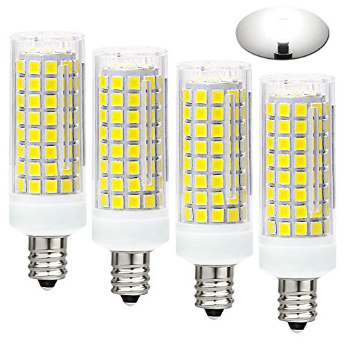 All-New (102LEDs) E12 LED Bulbs, 75W or 100W Equivalent Halogen Replacement Lights, Dimmable,850 Lumens,360 Degree Beam Angle T3/T4 Candelabra Base,AC110-130V,8W Daylight White 6000K(Pack of 4)