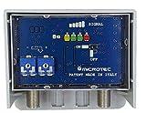 Amplificatore da palo per antenne digitali con visualizzatore dell'intensità del segnale ricevuto. Un ingresso logaritmico (VHF+UHF) con regolazione separata delle bande, guadagno 32 dB, per zone con segnale medio-debole..