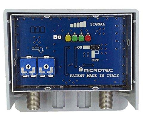 Amplificatore da palo per antenne digitali con visualizzatore dell intensità del segnale ricevuto. Un ingresso logaritmico (VHF+UHF) con regolazione separata delle bande, guadagno 32 dB, per zone con segnale medio-debole..