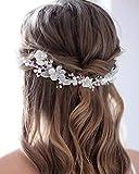 Unicra Braut Hochzeit Haar Rebe Blume Stirnband Silber Perle Braut Kopfbedeckung Blatt Haar Zubehör für Frauen und Mädchen