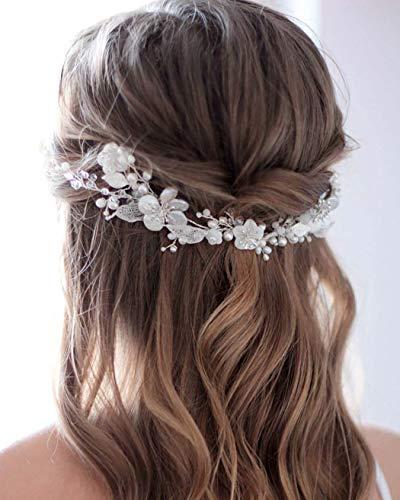 Unicra Serre-tête de mariée en forme de vigne avec fleurs et perles argentées - Accessoire pour cheveux pour femme et fille