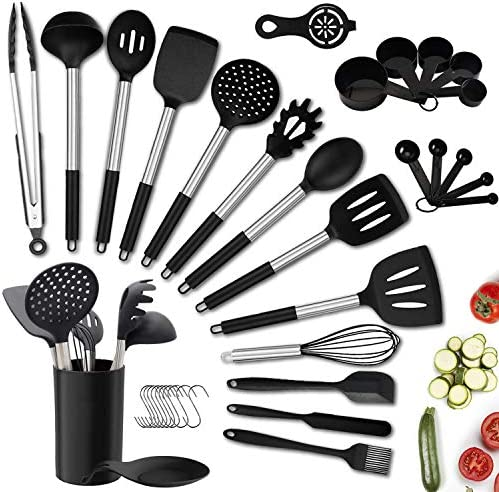 Kitchen Utensil Set 36PCS Silicone Cooking Utensils with Holder Heat Resistant Non Stick BPA product image