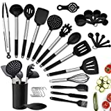 Kitchen Utensil Set,36PCS Silicone Cooking Utensils with Holder,Heat-Resistant Non-Stick BPA-Free Stainless Steel Handle Silicone Spoons Spatula Turner Whisk Tongs Measuring Cups Cooking Tools Set