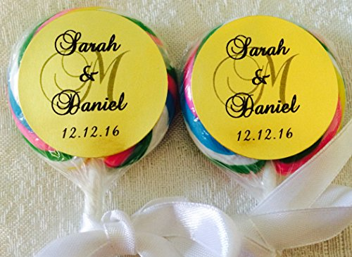 """210 GOLD FOIL Circle 1.5"""" Lollipop or Favor Box LABELS Personalized MONOGRAM STICKERS for WEDDING PARTY OR EVENT"""
