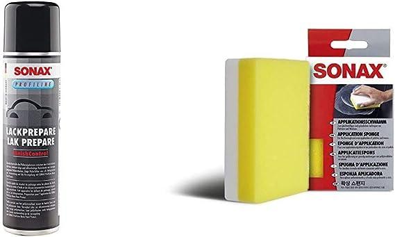 Sonax Profiline Prepare 400 Ml Spezielles Lösemittelgemisch Zum Effektiven Entfernen Von Fett Und Ölfilmen Applikationsschwamm 1 Stück Zum Auftragen Und Verarbeiten Von Polituren Etc Auto
