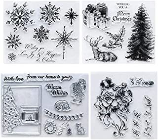 Christmas Tree Clear Stamp Snowflake Rubber Seal Scrapbooking Card Making DIY Photo Album Decoration Tools (4pcs)