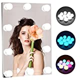 Led Vanity Lights for Mirror :RGB Colorful DIY Hollywood Style Makeup Mirror Lights with Dimmable 10 Light Bulbs for Vanity Set, USB Power Supply Plug in Lighting Fixture Strip (Mirror Not Include)