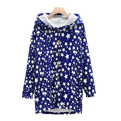 Star Print Coats for Women Thick Plush Long Sleeve Jackets Casual Loose Fashion Hoodies Blouse Light Blue
