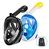 <span class='highlight'><span class='highlight'>Omew</span></span> Full Face Snorkeling Mask, 2 Pack Easy Breathing Snorkel Mask Snorkeling Set, 180° Seaview Anti-fog Anti-leak Design Swimming Diving Masks with Action Camera Mount for Adults (Black,Blue)
